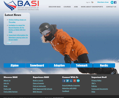 British Association of Snowsport Instructors powers their website with iMIS CMS