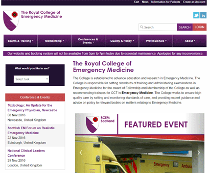 The Royal College of Emergency Medicine powers their website with iMIS CMS