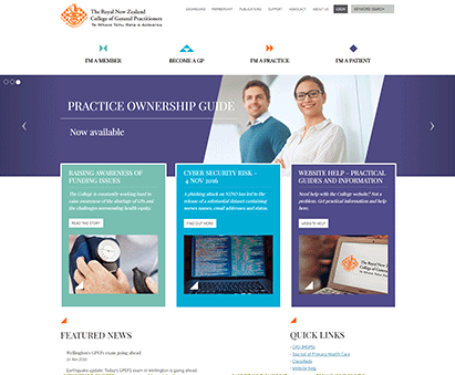 The Royal New Zealand College of General Practitioners powers their website with iMIS CMS