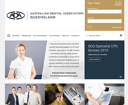 Australian Dental Association Queensland powers their website with iMIS CMS