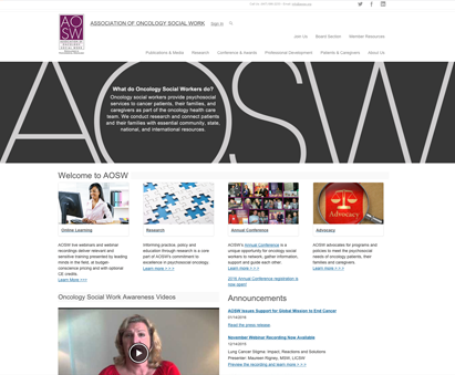 Association of Oncology Social Work powers their website with iMIS CMS