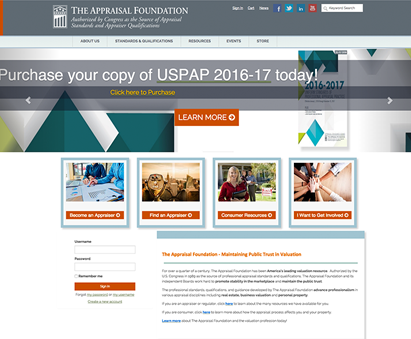 The Appraisal Foundation powers their website with iMIS CMS