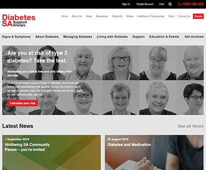 Diabetes SA powers their website with iMIS CMS