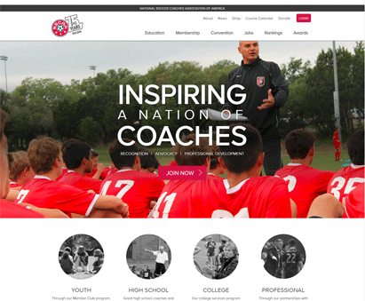 National Soccer Coaches Association of America powers their website with iMIS CMS