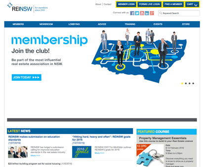 Real Estate Institute of New South Wales powers their website with iMIS CMS