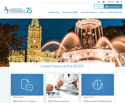 The Society of Obstetricians and Gynaecologists of Canada powers their website with iMIS CMS