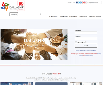 DallasHR powers their website with iMIS CMS