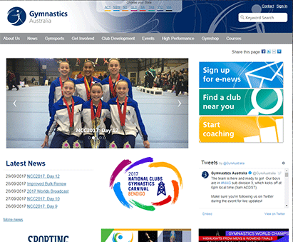 Gymnastics Australia powers their website with iMIS CMS