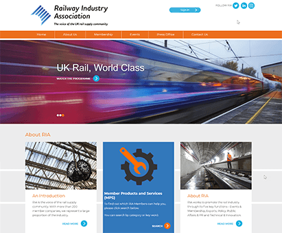 Railway Industry Association powers their website with iMIS CMS
