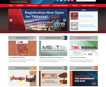 The Minerals, Metals and Materials Society powers their website with iMIS CMS